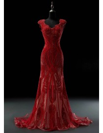 Luxurious cap sleeves sweetheart red crystals beaded accent sweeping train red evening party prom dresses 2015 5W-028