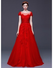 Cap sleeves jewel neckline red lace appliques crystals beaded sweeping train red evening party prom dresses 2015 5W-109