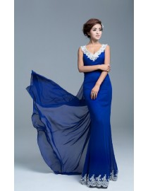 Sexy elegant v-neck lace appliques swarovski beaded royal blue evening party prom dresses 2015 PW5-020