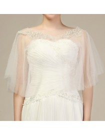 Sheer tulle sliver embroidery lace appliques wedding wrap shawl HW-018