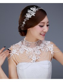 Luxurious illusion high collar lace appliques crystals beaded accent crystals straps bridal wedding shoulder necklace wrap shawl HW-043