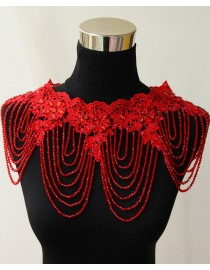 Luxurious red lace appliques red crystals beaded accent crystals straps bridal wedding shoulder necklace wrap shawl HW-046