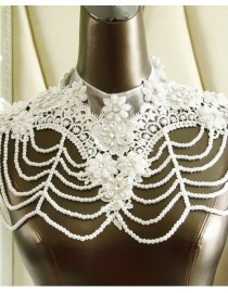 Luxurious lace appliques crystals pearls beaded accent crystals straps bridal wedding shoulder necklace wrap shawl HW-039