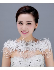 Luxurious lace appliques swarovski beaded bridal wedding shoulder necklace wrap shawl HW-042