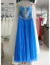 Gorgeous sweetheart crystals beaded accent deep skyblue evening party prom dress 2015  JD-068