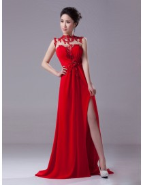 Gorgeous illusion sweetheart high collar lace flowers appliques backless front slit sexy red chiffon evening prom dresses 2014 PW5-055