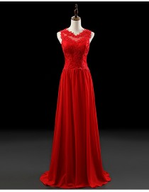 Gorgeous jewel neckline bodice red lace appliques sheath chiffon evening prom dresses 2014 PW5-060