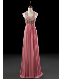 Gorgeous halter rose pink chiffon swarovski beaded evening prom dresses 2014 PW5-061