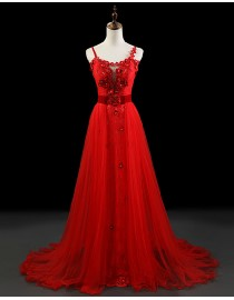 Stunning spaghetti sweetheart small handmade flowers lace appliques swarovski beaded red tulle evening prom dresses 2014 PW5-062