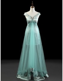 Stunning portrait neckline swarovski beaded bean green satin and tulle evening prom dresses 2014 PW5-063