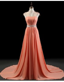 Stunning illusion collar swarovski beaded sweetheart illusion back orange yellow chiffon evening prom dresses 2014 PW5-064