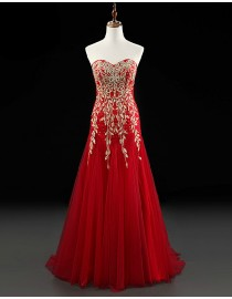 Gorgeous sweetheart gold lace appliques swarovski beaded red tulle fit and flare evening prom dresses 2014 PW5-065