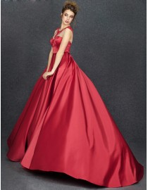 Gorgeous jewel illusion sweetheart beads beaded dark red satin puffy evening prom dresses 2014 PW5-067