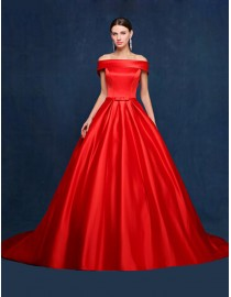 Awesome red off shoulder satin court train wedding prom dress 2015 5W-106
