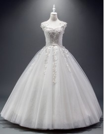 Charming sweetheart lace appliques crystals beaded bodice ball gown floor length wedding dresses 5w-132