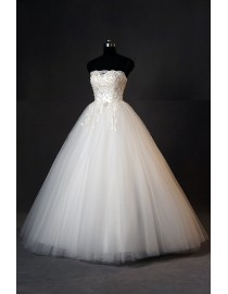 Charming strapless lace appliques small pearls beaded a-line floor length wedding dresses 5w-187