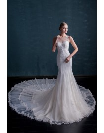 Awesome sweetheart lace appliques sequins beaded horse hair ruffles skirt sweeping train a-line  wedding dresses  MS-586