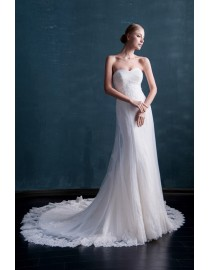 Stunning lace appliques beaded sweetheart sheath slim a-line sweeping train wedding dresses  MS-594