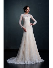 Awesome champagne sheer long sleeves French lace appliques beads beaded sheath court train wedding dresses  MS-597