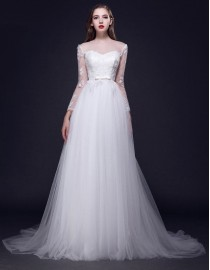 Gorgeous illusion neckline sweetheart long sleeves lace appliques backless a-line sweeping train wedding dresses 5W-231