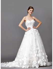 Gorgeous sweetheart petals floral appliques a-line sweeping train wedding dresses 5W-232