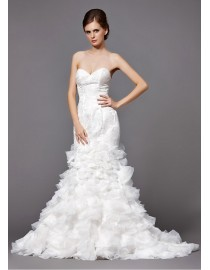 Gorgeous sweetheart lace appliques mermaid fit and flare ruffles skirt sweeping train wedding dresses 5W-233