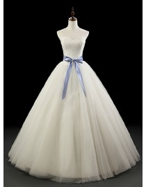 Elegant sweetheart lace appliques basque waistline A-line floor length wedding dresses with blue satin sash  5W-241