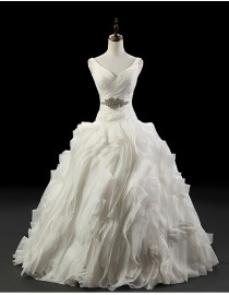 Gorgeous vera wang v-neck pleated bodice and bloom skirt sweeping train wedding dresses 5W-243