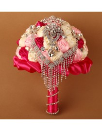 Fuchsia red pink and white silk rose rhinestones embellishment and diamonds pendant tear shape fake artificial bridal and maids bouquets
