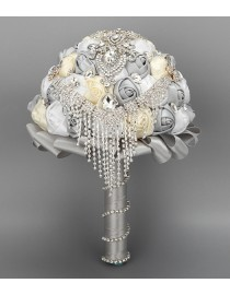 Ivory white and gray silk rose rhinestones embellishment and diamonds pendant tear shape fake artificial bridal and maids bouquets