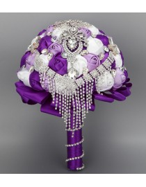 Purple lilac and ivory silk rose rhinestones embellishment and diamonds pendant tear shape fake artificial bridal and maids bouquets