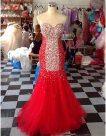 Stunning bright rhinestones beaded accent sweetheart mermaid tulle evening prom dresses LY-229