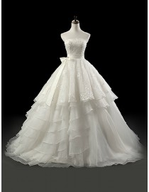 Gorgeous strapless lace appliques layered ruffles skirt a-line sweeping train wedding dresses 5W-244
