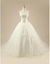 Gorgeous strapless floral embellishment lace elongated bodice ball gown court train wedding dresses 5W-251
