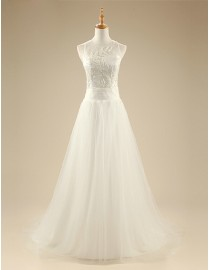 Simple but awesome square neckline embroidery illusion back slim-a line sweeping train wedding dresses 5W-256