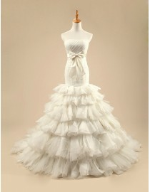 Gorgeous strapless fishtail fit and flare ruffles bloom skirt sweeping train wedding dresses 5W-257