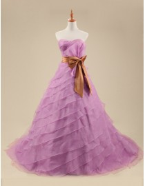 Awesome sweetheart orchid purple organza layered skirt a line sweeping train wedding dresses 5W-262