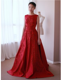 Awesome scoop neckline crimson red satin lace appliques sequins beaded court train prom wedding dresses  LW-26