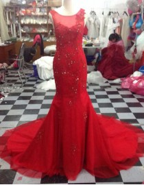 Jewel neckline red lace appliques beaded fit and flare mermaid illusion back prom dresses LW-54