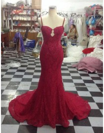 Charming and sexy burgundy spagetti straps sweetheart key hole front lace appliques beaded mermaid lace court train prom dresses  LW-57