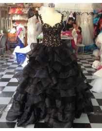 Gorgeous spaghetti sweetheart black lace appliques ruffles layered skirt floor length prom dresses  LW-63