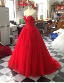 Awesome red sweetheart swarovski bedaed a-line basque waistline backless prom wedding dresses  LW-67