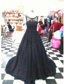 Gorgeous jewel neckline black lace appliques sweeping train tulle prom dresses  LW-69