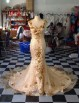 Dazzing sweetheart gold lace appliques beaded mermaid lace court train prom dresses  LW-71