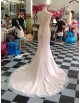 Awesome high collar illusion lace appliques sweetheart pink blush mermaid lace court train key hole at back prom wedding dresses  LW-72