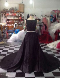 Awesome bateau neckline lace appliques beaded black satin sweeping train wedding dresses  LW-88