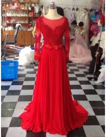 Awesome sheer long sleeves lace appliques red prom dresses  LW-93