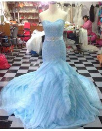 Gorgeous sweetheart fit and flare lace appliques skyblue rosette skirt sweeping train prom dresses LW-96