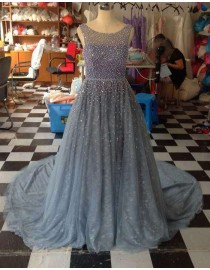 Gorgeous bateau neckline pearls beaded accent dusty blue lace backless prom dresses LW-97