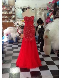 Gorgeous sweetheart lace appliques beaded illusion sheath red tulle prom dresses  LW-141